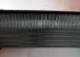 Fins on a heat exchanger.